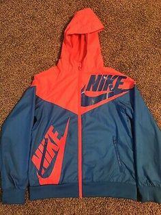 Nike Winter Jackets, Nike Track Jacket, Wind Breaker, Nike Windbreaker, Nike Zip Up, Blue Zip Ups, Blue Nike, Nike Fashion, Vintage Nike