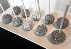Cake Pops - Elegant Cake Pops in Grey, Silver and White for Birthday, Bridal Shower, Wedding Favors