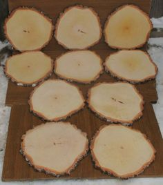 This listing is for large birch tree slices. These beautiful slices have been sanded smooth on both sides and still have the lovely black and white bark around the edges.  These wonderful pieces are great for rustic wedding decor, country wedding décor, cake stands, wedding centerpieces (add mason jars or candles), plate coasters, home decor, crafts and DIY supplies, etc.  All the slices are cut from one birch tree. The diameter is 27 – 31 cm (approximately 11 to 12). The slices are…