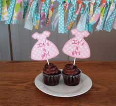 Its a Girl Baby Shower Cupcake Toppers a by TickleYourFancyShop
