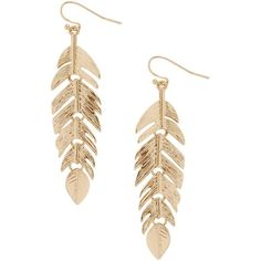 Humble Chic NY Floating Feathers ($24) ❤ liked on Polyvore featuring jewelry, earrings, dangle chandelier earrings, gold chandelier earrings, chandelier pendants, long gold earrings and gold pendant