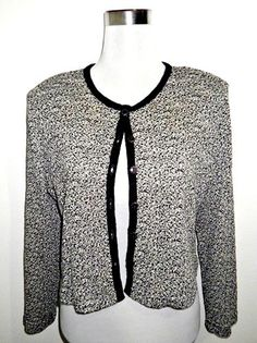 SALE! black and white knit boucle jacket / cardigan by VintageHomage on Etsy, $13.00