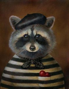 Racoon Portrait-Vintage style Racoon Bandit by Lisa Zador - www.curiousportraits.etsy.com