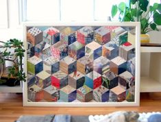 DIY patchwork art - this or a similar quilt pattern with clippings would by great for one of my empty frames!