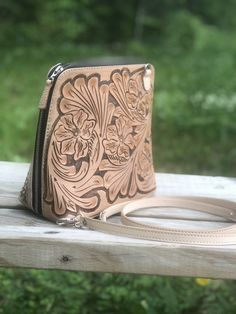 "Hand-Tooled Leather Large Crossbody ""Catalina"" by ALLE more Colors Leaf Design, Floral Design, Leather Tooling, Tooled Leather, I Love Jewelry, Leather Crossbody, Cuff Bracelets, Things To Come, Purses"