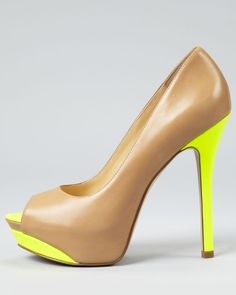 Enzo Angionlini Color Block Pumps . Love the pop of yellow