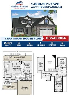 Featuring 2,601 sq. ft., this Craftsman design is completed with 3 bedrooms, 2.5 bathrooms, a covered porch, a bonus room and an office area. Visit our website for more information about Plan 035-00904. Craftsman Style Homes, Craftsman House Plans, Best House Plans, Build Your Dream Home, Architectural Elements, Great Rooms, Square Feet, Floor Plans, House Design
