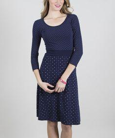 Look what I found on #zulily! Navy Reflective Scoop Neck Dress #zulilyfinds