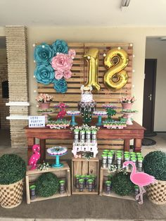 Change the 18 to 21 if your a summer baby! Backyard Birthday, Fairy Birthday Party, 18th Birthday Party, Birthday Party Decorations, Pool Party Kids, Birthday Goals, Rose Gold Decor, Flamingo Birthday, Balloon Decorations
