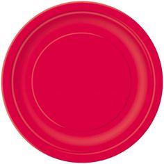 Rød Paptallerken - Single. Perfekt til julefrokosten!