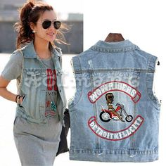 Vintage Women Casusl Denim Jean Vest Sleeveless Jacket Waistcoat Top Blue US 2-8