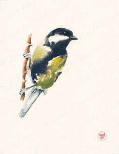 "Adele Earnshaw  /""One of a Kind/"" Chickadee Art Print 12/"" x 4/"""
