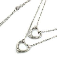 Amazon.com: ELYA Stainless Steel Double Strand Open Heart Pendant Necklace: Clothing