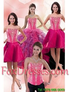 5aa10e545c 2015 Detachable Multi Color Sweet 16 Dresses with Appliques and Ruffles Hot  Pink Dresses