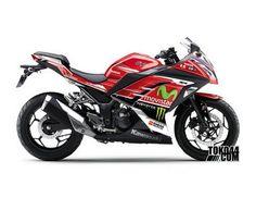 Decal Sticker Modifikasi Kawasaki Ninja 250 Fi ABS Merah - Valentino Rossi Moviestar Red V2