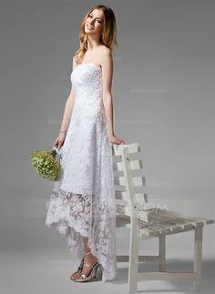 A-Line/Princess Strapless Asymmetrical Lace Wedding Dress With ...