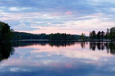 Quiet sunset at Lake Tuomiojärvi - The way of the exploding fish Finland Summer, Summer Evening, Landscape Photographers, First Photo, Landscapes, Scene, In This Moment, Mountains, Sunset