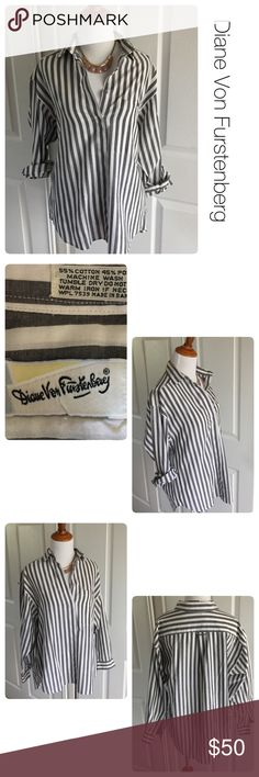 Diane von Furstenberg vintage striped shirt M ♦️Excellent condition. Like new. No holes or stains.                                                         ♦️Materials- 55 cotton/45 polyester  ♦️Measurements:                                   ♦️Laying flat armpit to armpit: approximately 19 inches.                                                ♦️Laying flat from the back of the neck to the bottom of the front hem is approximately 28 inches Diane von Furstenberg Tops Button Down Shirts