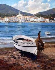 En esta obra, el artista Jordi Sugrañes interpreta un paisaje marino del pueblo de Cadaqués, uno de los lugares mas emblemáticos de la Costa Brava. Este óleo, nos transporta a la costa mediterránea a través de la luz y el color que caracterizan la pintura de este artista.