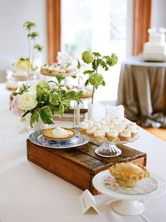 Love This Idea Wooden Box And Colorful Blue Plate For Sweet Table Maybe A High Tea