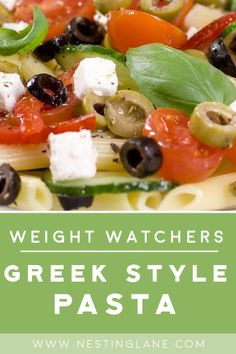 Weight Watchers Greek Style Pasta Recipe with Penne pasta. Ready in 35 minutes. 238 calories, 7 WW Freestyle (Blue) points and 8 Smart Points. Weight Watcher Taco Soup, Weight Watchers Pasta, Weight Watchers Vegetarian, Weight Watcher Dinners, Spicy Chinese Chicken Recipe, Herb Chicken Recipes, Slow Cooker Pork Tenderloin, Pork Tenderloin Recipes, Ww Recipes