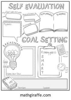 student goal setting sheet doodle note style download