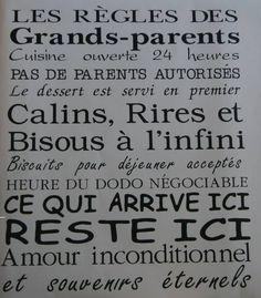 LES REGLES DES GRANDS PARENTS 35$ #décalque #grandsparent #collantmuraux