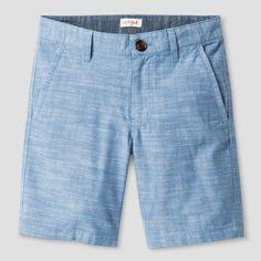 Boys' Flat Front Chino Shorts Cat & Jack Light Blue Chambray 8 Husky