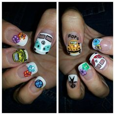 nail vw this is so cool Hippie Nail Art, Hippie Art, Get Nails, Hair And Nails, Beauty Nails, Diy Beauty, Peace Nails, Volkswagen 181, Cute Nail Designs