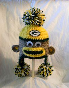 Crochet Green Bay Packers Football Sock Monkey Hat by CDBSTUDIO