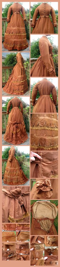 English Mid-Victorian Orangey Brown Silk Faille Early Bustle Era Day Gown / or Reception Dress dated to 1869/1870. From ebay seller: madaboutfans