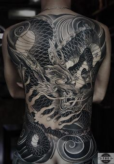 Asian Dragon Tattoo, Small Dragon Tattoos, Dragon Tattoo Back Piece, Japanese Dragon Tattoos, Dragon Tattoo Designs, Mens Body Tattoos, Best Sleeve Tattoos, Body Art Tattoos, Evil Tattoos