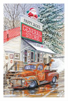 Pappy Jack's General Store Christmas Cards—Set of 10 Christmas Drawing, Christmas Art, Vintage Christmas, Vintage Trucks, Old Trucks, Pickup Trucks, Graffiti Kunst, Truck Crafts, Car Prints