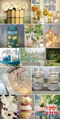 Uses for mason jars (or recycled jars? Uses For Mason Jars, Mason Jar Crafts, Mason Jar Diy, Bottle Crafts, Advent, Crafts To Do, Diy Crafts, Recycled Jars, Decorated Jars