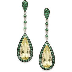 Sterling Silver Earrings, Lemon Quartz (5 ct. t.w.) and Green... ($300) ❤ liked on Polyvore featuring jewelry, earrings, no color, lemon quartz earrings, zirconia earrings, green jewelry, cubic zirconia jewelry and cz drop earrings