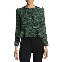Rebecca Taylor Textured Tweed Peplum Jacket ($550) ❤ liked on Polyvore featuring outerwear, jackets, multi, tweed peplum jacket, rebecca taylor, slim fit tweed jacket, tweed jacket and fleece-lined jackets