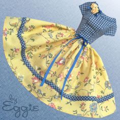 Yellow Roses - Vintage Barbie Doll Dress Reproduction Repro Barbie Clothes