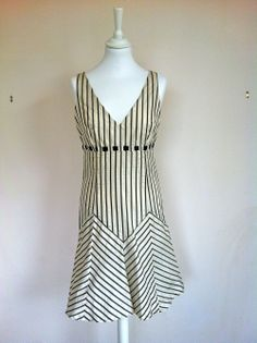 Tocca Silk Cream And Anthracite Striped Dress via The Queen Bee. Click on the image to see more!
