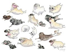 Pugs on the Move Art Print Cute Pug Art Funny Pug Decor by InkPug
