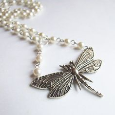 Dragonfly pearl neckalce  cute adorable white ecru by KicaBijoux, $12.00