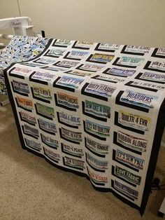 quilts with license plates - Yahoo Search Results Strip Quilts, Panel Quilts, Scrappy Quilts, Quilt Blocks, Kid Quilts, Quilting Projects, Quilting Designs, Quilting Ideas, Modern Quilting