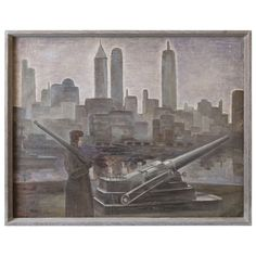 John Muir, Oil on Canvas, WPA Skyscraper, Military Waterfront Scene | From a unique collection of antique and modern paintings at http://www.1stdibs.com/furniture/wall-decorations/paintings/
