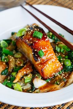 Miso Glazed Black Cod on Baby Bok Choy and Shiitake Mushrooms - Seafood Recipes Fish Dishes, Seafood Dishes, Fish And Seafood, Seafood Recipes, Local Seafood, Cod Recipes, Asian Recipes, Cooking Recipes, Healthy Recipes