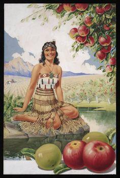 Cole, Edward, fl :[New Zealand apples with Maori woman. New Zealand Art, Indigenous Tribes, Easter Flowers, Maori Art, Kiwiana, Grand Designs, Vintage Travel Posters, Vintage Advertisements, Vintage Prints