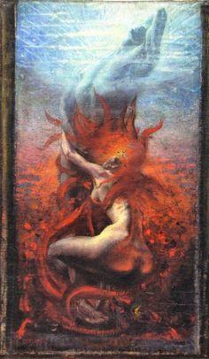 Jean Delville | La Symbolisation de la chair et de l'esprit #painting #symbolism #symbolist