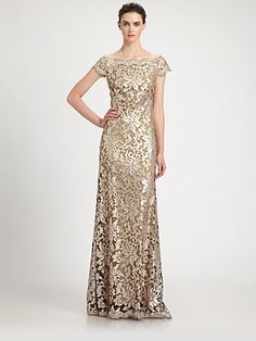 Tadashi Shoji Off-The-Shoulder Sequined Lace Gown