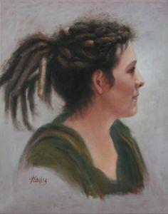 """""""Angela in Profile"""", oil"""