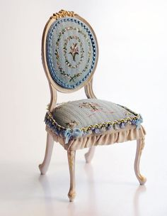 Dollhouse Chairs  Hand Painted Miniatures  1:12 Scale  by Aurearte