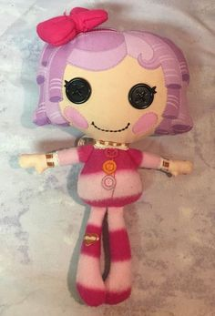 Lalaloopsy Plush Pillow Featherbed Pink Purple Fleece Button Eyes soft doll #lalaloopsy #Doll