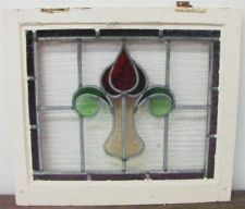 OLD ENGLISH STAINED GLASS WINDOW Pretty Floral Design